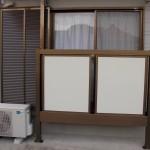 テラス窓の物干し工事 雨戸・鏡板交換