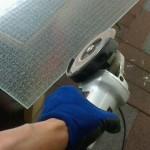 硝子加工 網入りガラスカット